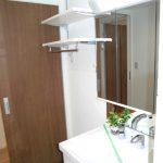 洗濯機置き場の上部には棚が付いており、洗剤やタオルなどの収納に便利です(内装)