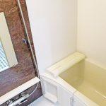 ブラウンのアクセントパネルを使用して落ち着いた雰囲気の浴室になっています(風呂)