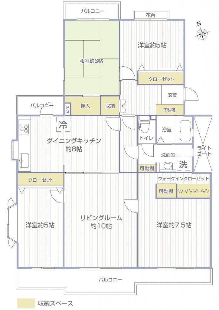 南西北、三方角住戸の大型4LDKは振分けタイプで使いやすいですね。全室収納付きです。(間取)